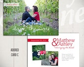 Save The Date Card Template: Adored Card C - 5x7 Engagement Card Template