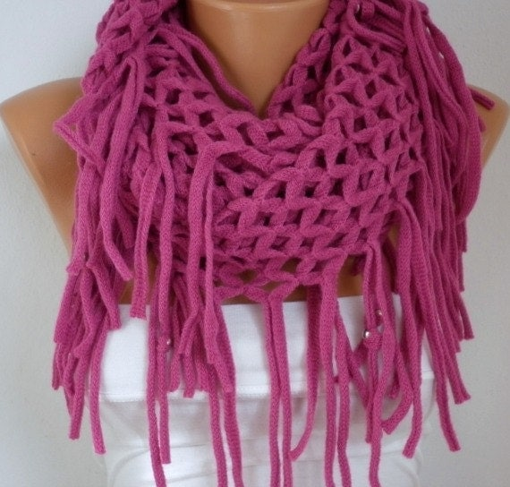 Fuchsia Knitted Infinity Fringe Lace Scarf Winter Scarf Loop,Circle Scarf Tube Scarf Gift Ideas For Her Women Fashion Accessories
