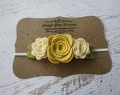 Wool Felt Flower Headband - Trio of  Roses in Light Mustard Yellow and Cream - Newborn Baby to Adult