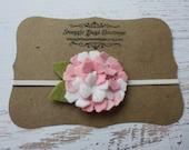 Felt Flower Headband - Mini Wool Felt Hydrangea  - Baby Pinks and White   - Headband or Hair Clip - Newborn Baby to Adult
