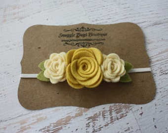 Wool Felt Flower Headband - Trio of  Roses in Light Mustard Yellow and Cream - Newborn Baby to Adult