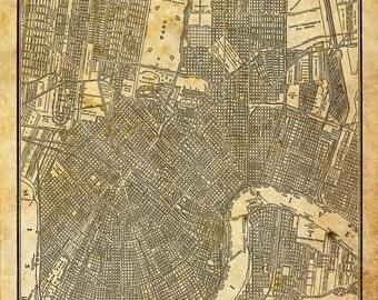 New Orleans Street Map Grunge Vintage Print Poster