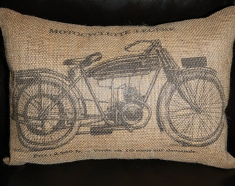 Vintage French Motorcycle Burlap Accent Pillow