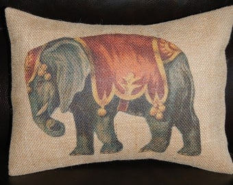 Circus Elephant Burlap Pillow,  INSERT INCLUDED