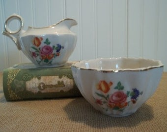 Rochelle Fine China Creamer and Sugar Set     Tea Time   Small and Dainty