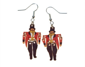 SALE Tiny Toy Dangle Earrings - 'At the Circus' Ring Master.  20% off with code VALENTINEBEAR16