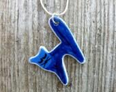 Porcelain Blue Cat Pendant Necklace