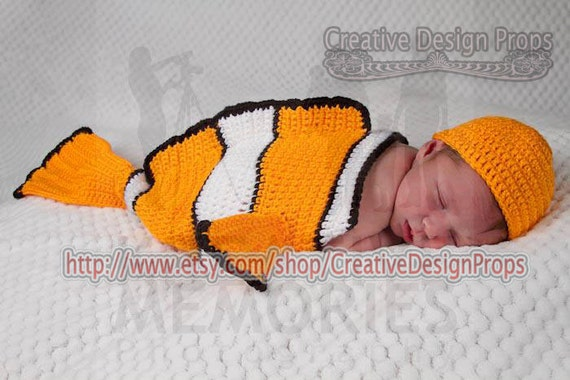 Clownfish Costume for Baby - Finding Nemo set - Cocoon and Hat - coral fish newborn outfit - Halloween, photo prop or gift for baby shower