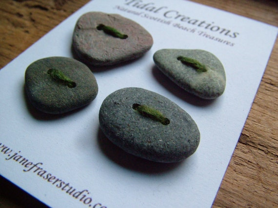 Rustic Beach Stone Pebble Buttons x 4