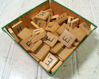 Vintage Scrabble Game E - H Letter Tiles - Wooden E F G H Pieces for Repurposing Upscaling Upcycling - Set of 58 Wooden Scrabble Tiles