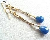 Blue Chalcedony Briolette Swavorski Crystal Swing Duster Goldtone Earrings - Free Shipping