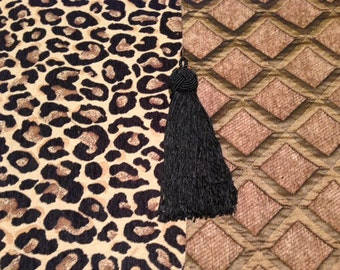 Toilet Tank Runner, Leopard Chenille with Taupe Diamond Reverse, Black Tassels
