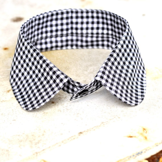 SALE Peter Pan Shirt  Detachable Collar Necklace Black and White Check squares