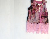 Summer  rose tunic top shabby pink rustic girl vest lace By Kateblossom boho XL roses