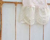 soft peach pink pale natural flowers lace party bridesmaid wedding apparel rustic Upcycled j crew tunic