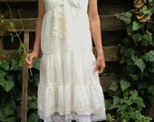 Prairie bride off white ecru rustic wedding vintage lace doily summer mountain forest bride party sundress