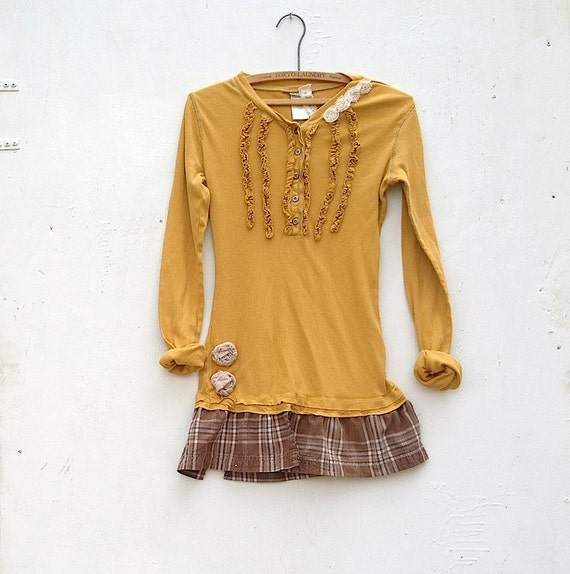 lets go to the barn spring summer citrine mustard harvest golden orange ruffles upcycled eco gypsy boho rustic cottage chic tee tunic