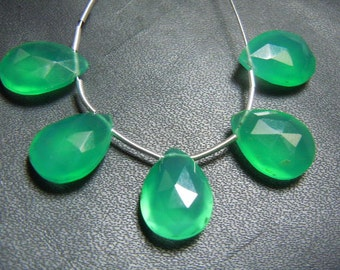 Green Onyx Briolette Faceted Pear Drops AAA Quality 5Pc Size-10x14MM Wholesale Price
