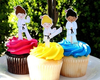 Karate Party Cupcake Toppers Girl Martial Arts Party Set of 12