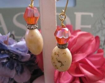 Elegant Orange Tangerine Beaded Drop Earrings