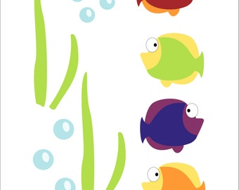Fish, Turtle and Seahorse Children's Wall Decals, Kid's Bathroom, Bathroom Decor, Bathroom Decal