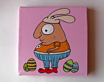 Easter Wall Decor - Original Acrylic Painting On Canvas - The Easter Bob - OOAK