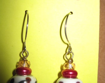 Cherries Delight Chinese Lantern Earrings ....one of a kind....ORIGINAL DESIGN...1375h