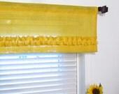Made to Order Yellow Burlap Ruffled Valance Kitchen Curtain Bathroom Valance