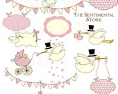 The Sentimental Stork in pink - Clip art collection. INSTANT DOWNLOAD.