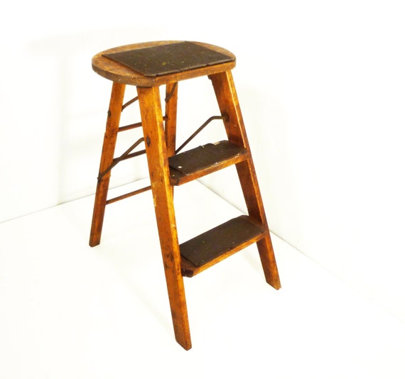Wooden Step Stool Old Paint Splashes Vintage Patina By