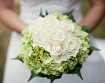 Custom Real Touch Hydrangea Rose Bridal Bouquet