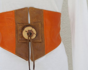 Sunset Orange Tangerine and Warm Brown Obi Corset Cinched Belt with Handmade Wooden Button
