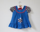 Vintage Retro Blue Turtle Pocket Dress (4T)
