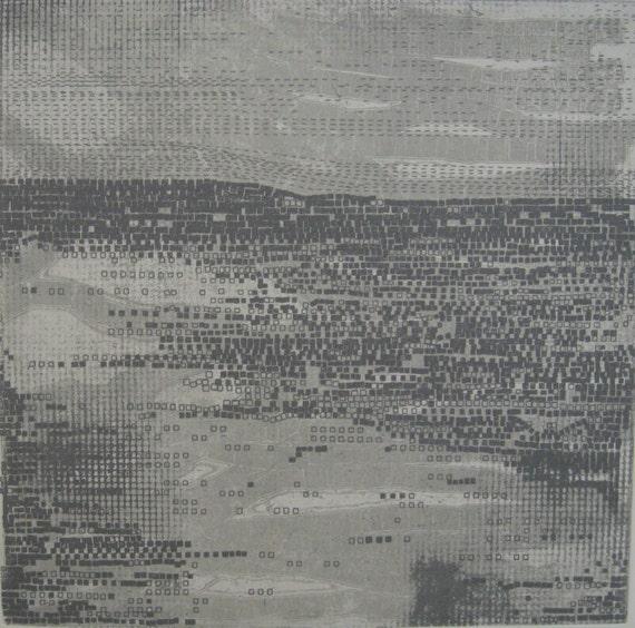 "Sale . Etching Print . Minimalist Art: Strata in Gray . Print Size 14"" x 14"""