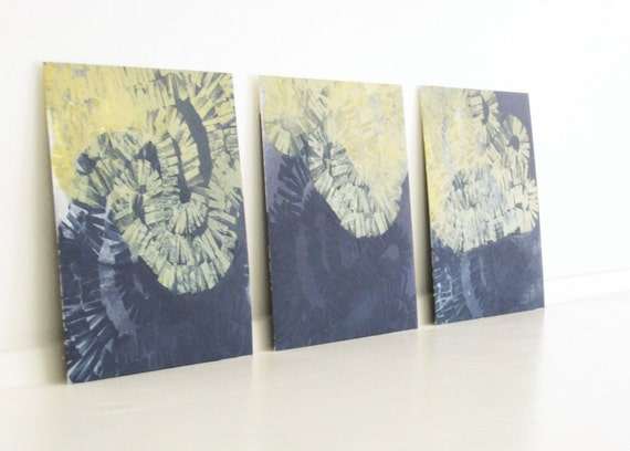 "Etching Prints. Art Set : Intersect 1, 2, 3 (in Navy Blue & Yellow Ochre)...8"" x 8"" Print Size"