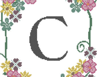 Floral Cross Stitch Border/Floral Cross Stitch Pattern/Monogram Cross Stitch Pattern/Cross Stitch Monogram Pattern/Flowers Cross Stitch