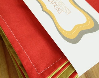 double sided cloth napkins - red and light green - 6 for 30