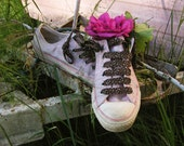 PINK GLITTER Riot Grrl Converse Low Tops with LEOPARD Laces, size 4.5