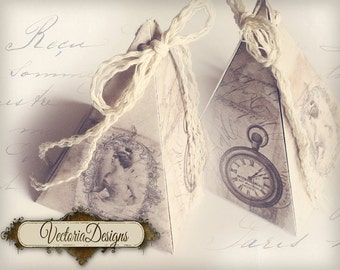 Shabby chic pyramid box vintage printable images instant download digital collage sheet VD0395