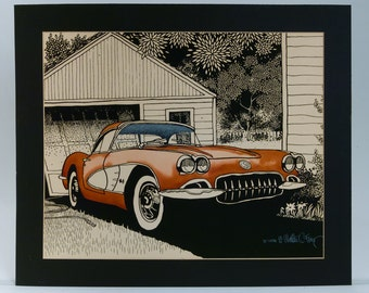 1959 Corvette Walter (Rocky) Ferris Signed Numbered Art Print Autoscape Photorealism