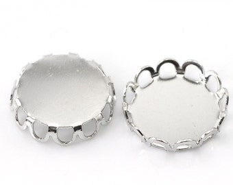 10 Silver Tone Metal Cabochon Bezels, filigree bezel tray setting frame, fits 25mm round cabochon, fin0605