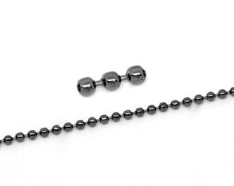 10 meters (over 32 feet) GUNMETAL BLACK TONE Metal Ball Chain 2.4mm  fch0120