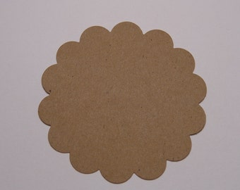 """25 Kraft 2"""" Scalloped Circle Die Cuts Tags Paper Punches Scrapbooking Embellishments Labels"""