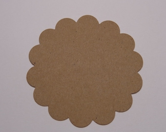 "25 Kraft 2"" Scalloped Circle Die Cuts Tags Paper Punches Scrapbooking Embellishments Labels"