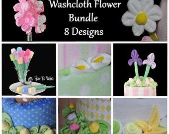 Washcloth Flowers Bundle Pack Set of 8, WashAgami ™