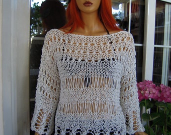 MADE TO ORDER sweater handmade white cotton  lace sweater/grunge sweater gift idea for her women clothing size M/L by golden yarn