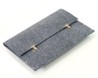 MacBook Pro 15 and Macbook Retina Sleeve, MacBook 15 Pro Case, MacBook 15 Cover, grey synthetic felt briefcase cover handmade by SleeWay