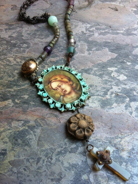 Ethereal Beloved. Rustic Religious Cameo Assemblage Necklace