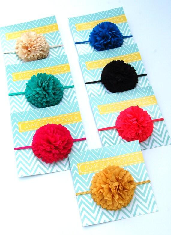 FRINGE COLLECTION- Single Chiffon Fringe Flower on Matching Skinny elastic - Spring, Summer, Newborn, Baby Girl