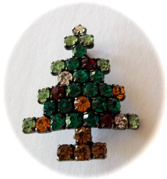 Vintage rhinestone christmas tree pin book piece for Christmas tree made from old books
